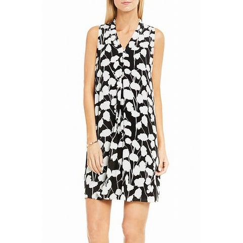 Vince Camuto Black Womens Size Small S Floral Print Shift Dress