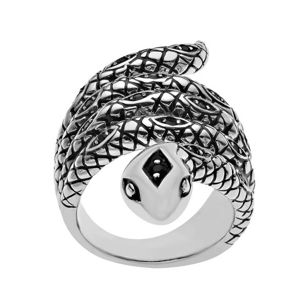 Rock and Redemption Jet Crystal Snake Ring in Sterling Silver - Black