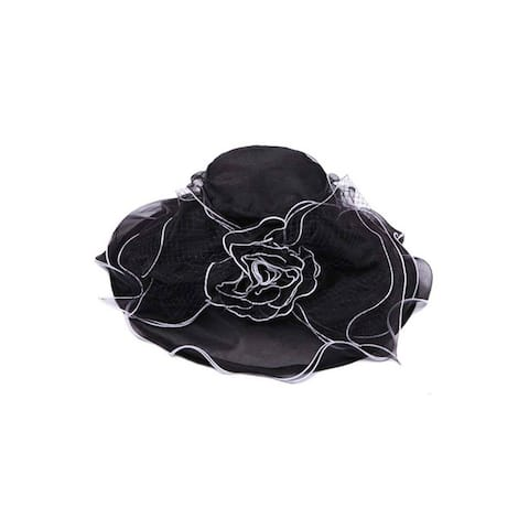 Womens Bucket Sun Hat w/ Floral Veil Bow