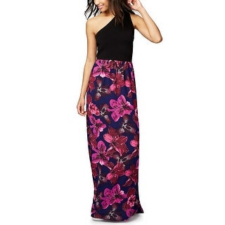 RACHEL Rachel Roy One Shoulder Mixed Media Maxi Dress - l
