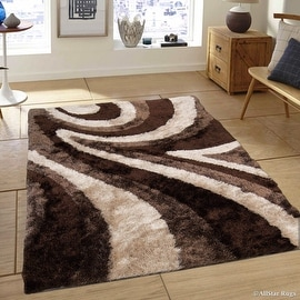 "Allstar Brown Geometric Thick Area Rug (4' 11"" x 6' 11"")"