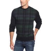 Weatherproof Vintage Plaid Knit Crewneck Sweater Blackwatch and Green Small S