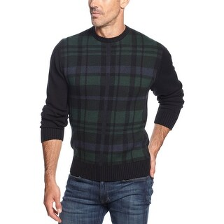Weatherproof Vintage Plaid Knit Crewneck Sweater Blackwatch and Green Small S