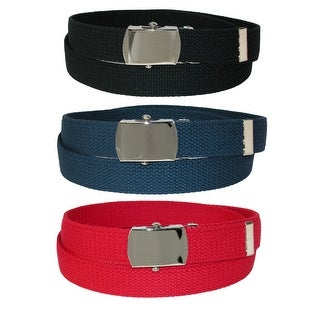 CTM® Kids' Cotton Web Belt with Military Buckle (Pack of 3 Colors) - One Size