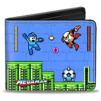 Megaman Game Play Scene Strike Man Spikey Soccer Balls Bi Fold Wallet - One Size Fits most