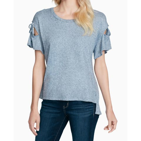 Jessica Simpson Women's Top Blouse Blue Size Medium M Knit Tie-Sleeve
