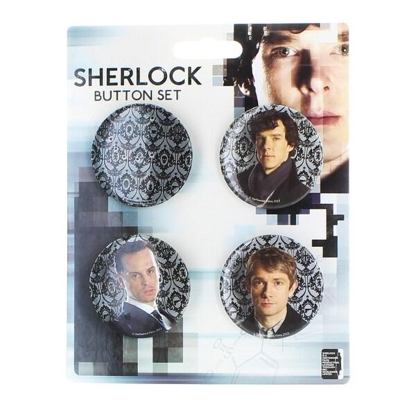 Sherlock Holmes Sherlock 4 Pack Button Set - multi