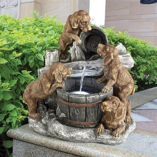 Design Toscano Puppy Pail Pour Garden Fountain