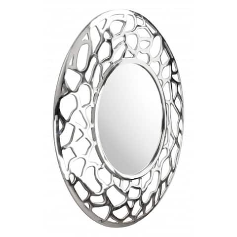 """Offex Living Room Decorative Reef Round Wall Mirror - Silver - 30.31""""L x 30.3""""W x 1.18""""H"""