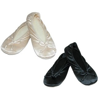 Isotoner Women's Satin Plus Size Ballerina Slippers (Pack of 2)