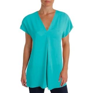 Lauren Ralph Lauren Womens Casual Top V-Neck Short Sleeves