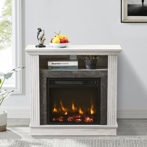 32 in. Freestanding Electric Fireplace in Saw Cut-off White