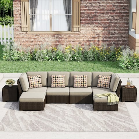 Corvus Oreanne 8-piece Brown Wicker Patio Furniture Set
