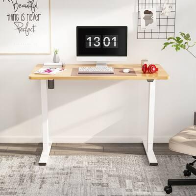 "FlexiSpot 48""x30"" Electric Home Office Height Adjustable Standing Desk Computer Desk White Frame Stand Up Desk"