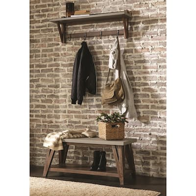 Carbon Loft Omer 40-inch Concrete Coated Wood Entryway Coat Hook and Bench Set