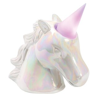 What on Earth Unicorn Night Light Coin Bank - Removable Color-Changing LED Lighted Horn