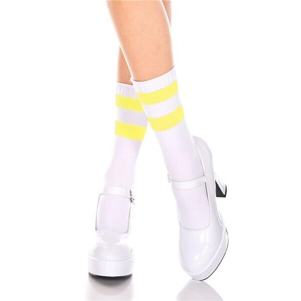 ea83574e940 Shop 526-WHITE-N.YELLOW Acrylic Ankle High with Striped Top Socks ...