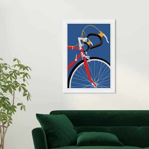 Wynwood Studio 'Fixie in Primary' Transportation Blue Wall Art Framed Print