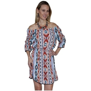 Scully Western Dress Womens Print Elastic Scoop Neck 3/4 Sleeves E276