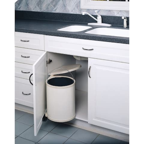 """Rev-A-Shelf 8-010412-15 8-010 Series Pivot Out 13.5"""" Tall Trash Can with Lid - 16 Quart Capacity"""