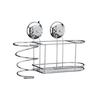 Bathroom T304 Stainless Steel Turn & Lock Suction Hair Dryer Holder Basket Caddy