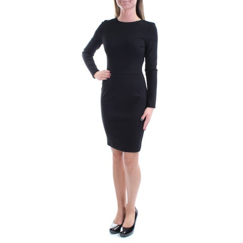 Womens Black Long Sleeve Above The Knee Wear To Work Dress Size: 2XS