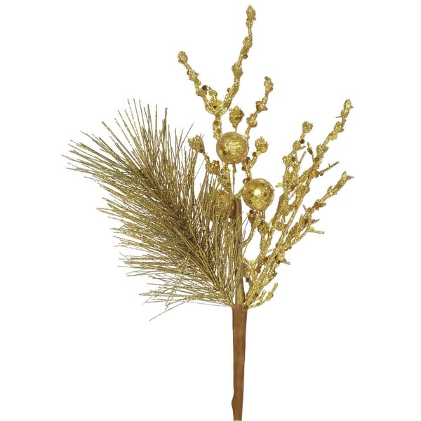 """13"""" Sparkling Antique Gold Glittered Ball and Pine Christmas Spray"""
