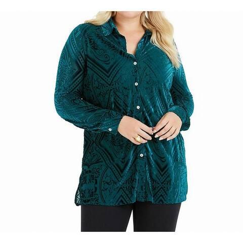 Foxcroft Green Womens Size 16W Plus Burnout Button Down Shirt