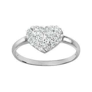 Crystaluxe Heart Ring with Swarovski Crystals in Sterling Silver - White