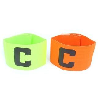 Elastic Football Tension Match Player Captain Armband Orange Yellow Green 2pcs