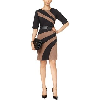 Connected Apparel Womens Wear to Work Dress Colorblock Faux Suede Trim