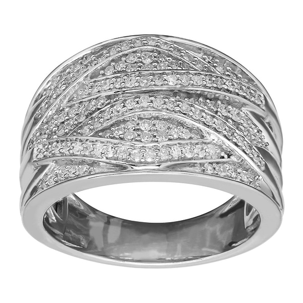 1/2 ct Diamond Wave Band Ring in Sterling Silver