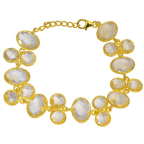 Citrine Sterling Silver Oval Link Bracelet by Orchid Jewelry