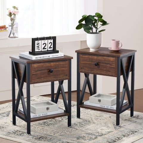 VECELO Set of 2 Modern Nightstand 2 Layer 1 Drawer Bedside End Table