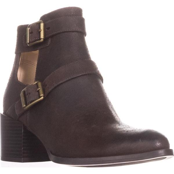 Nine West Evalee Buckle Ankle Boots, Dark Brown