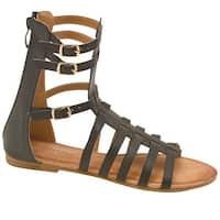 Adult Black Strappy Buckle Back Zipper Open Toe Gladiator Sandals