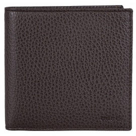 Gucci Men's 150413 Brown Pebbled Leather Embossed Logo W/Coin Bifold Wallet