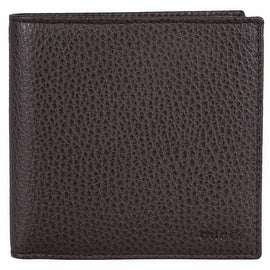New Gucci Men's 150413 Brown Pebbled Leather Embossed Logo W/Coin Bifold Wallet