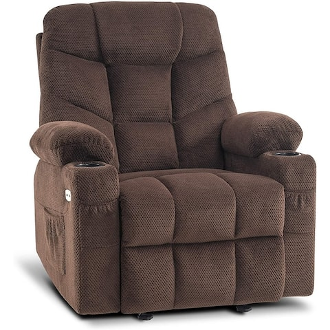 Mcombo Manual Glider Rocker Recliner with Cup Holders for Nursery, USB Ports, 2 Side & Front Pockets, Fabri Plushc 8002