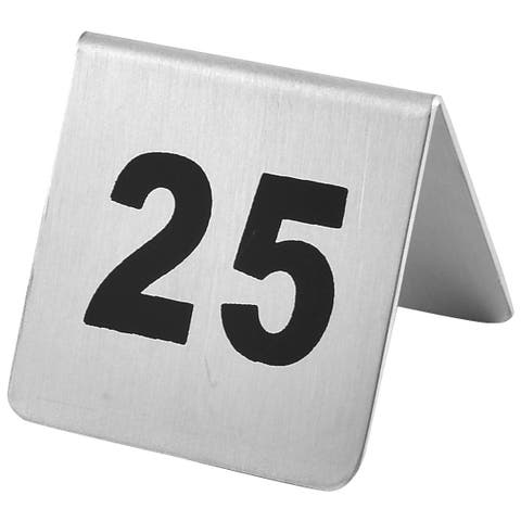 Restaurant Stainless Steel Free-standing Number 25 Table Sign Black Silver Tone