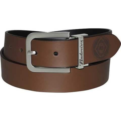 Buxton Men's Budweiser AB Patch Reversible Belt Black/Brown