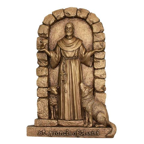 Design Toscano St. Francis of Assisi Welcome to My Garden Wall Sculpture