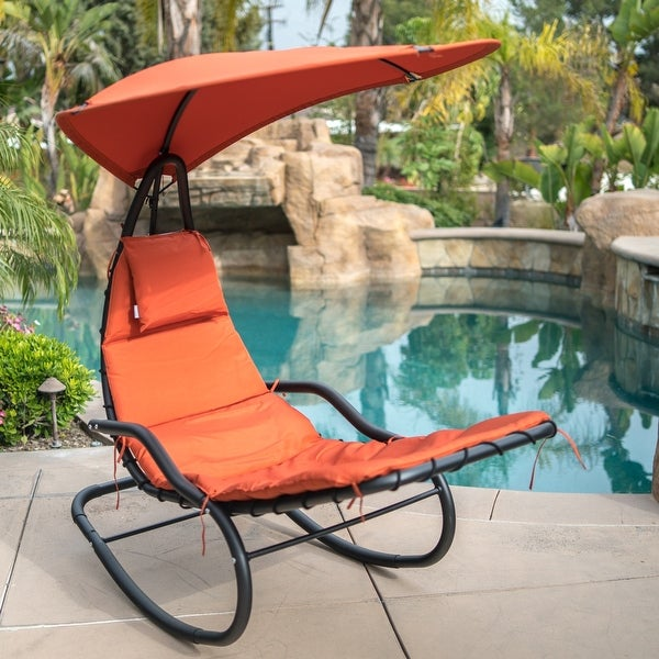 BELLEZE Hanging Rocking Sunshade Canopy Chair Chaise Umbrella Lounge Arc  Patio Bungee Padded Cushions Outdoor.