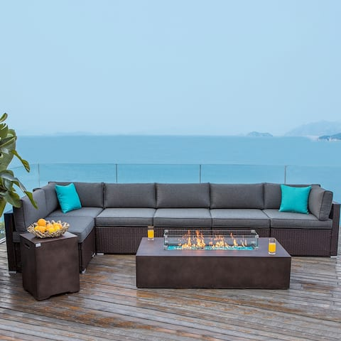 COSIEST 8 Piece Outdoor Sectional Sofa Furniture Set With Fire Table,Tank Outside