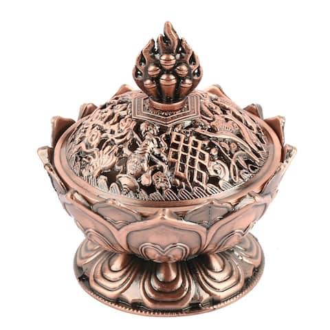"""Household Living Room Vintage Design Incense Burner Container Holder - Copper Tone - 2.7"""" x 3""""(D*H)"""