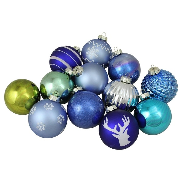 "12-Piece Set of Blue, Silver and Green Multi-Patterned Christmas Ball Ornaments 4"" (100mm)"