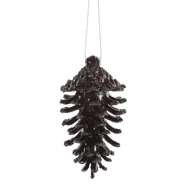 6ct Jet Black Glittered Shatterproof Pine Cone Christmas Ornaments 3.5""
