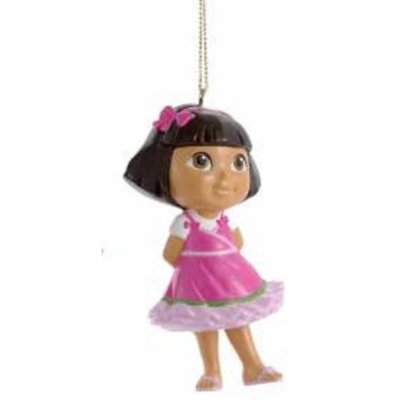 "3.25"" Dora the Explorer in Pink Dress with Glittered Under Skirt Christmas Ornament"
