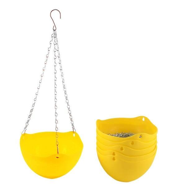Plastic Hanging Flower Pot Chain Plant Planter Basket Home Garden Decor