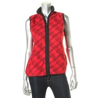 Karen Scott Womens Fleece Plaid Vest - XS